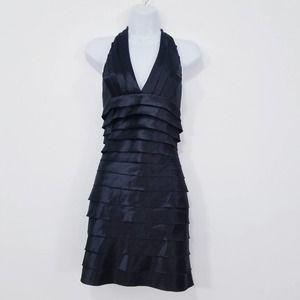 NEW BCBGMazAzria Sateen Tired Halter Black Dress